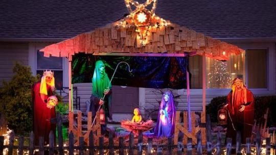Call it the Christmas controversy that just wouldn't die. Again. Jasen Dixon was ordered last December to take down his front-yard zombie-themed Nativity scene featuring an undead baby, three ghoulish kings, and a severed head — all under a glowing pentagram.  Click through the slideshow above for more images and details about the controversy.