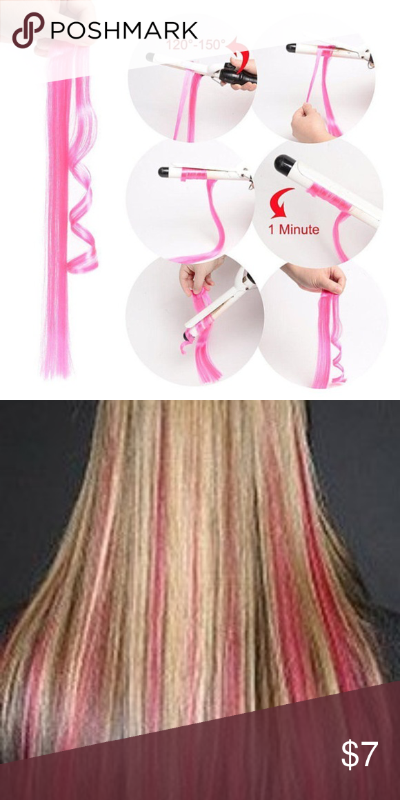 Rose Pink Clip On Synthetic Long Hair Extension Boutique Long Hair