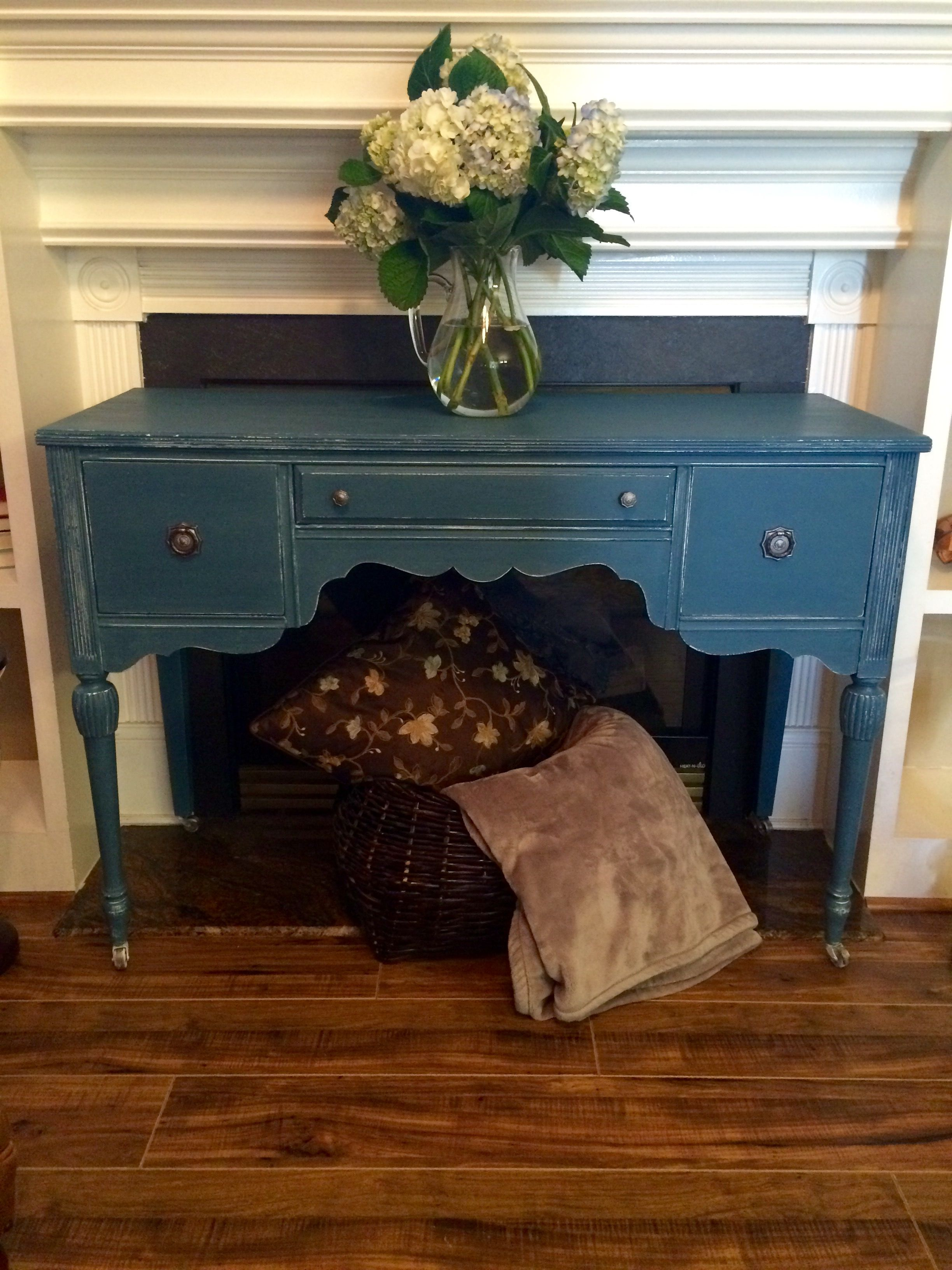 Antique buffet done in Annie Sloan Aubusson blue and white wax