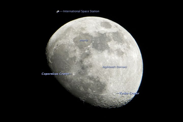 While the International Space Station (upper left) appears to be fairly close to the Moon's surface in the image, it's a trick of perspective. The Moon orbits Earth at an average distance of 384,400 kilometers (238,855 miles), while the ISS orbits at altitudes ranging from approximately 330 to 410 kilometers (205 to 255 miles).