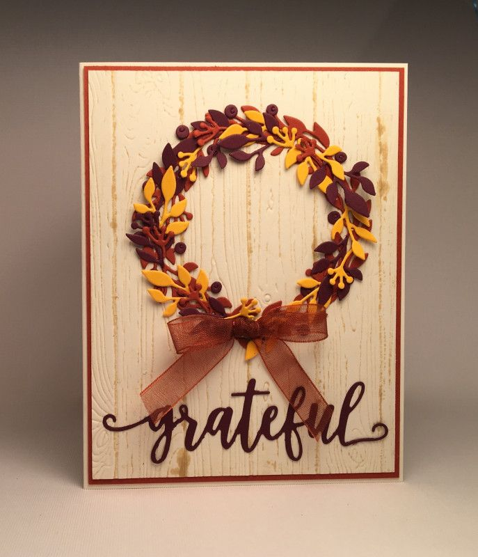 handmade thanksgiving card fall wreath by pam mackay leaves and berries die cut in wine gold and espresso form a perfect circle wreath with lots of