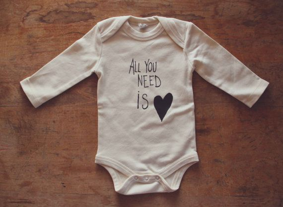 Natural 100% Organic Cotton All You Need is Love Screen Printed Long Sleeve Infant One-piece