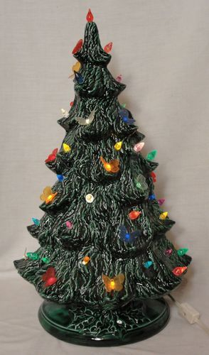 """Vintage 17 1 2"""" Green Ceramic Christmas Tree Butterfly Lights"""
