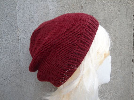 25b115f9798 Women s Cashmere Beanie Hat Size S-M Burgundy Red by Girlpower
