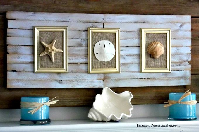Vintage Paint And More Beach Decor Seashell Rustic Made From Construction Shims Seashells