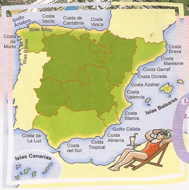 Costas De España Mapa.Mapas De Las Costas Espanolas Relieve Espana Cultura
