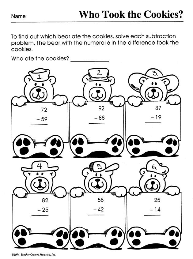 Oh no One of these naughty bears has finished off all the cookies – Fun Subtraction Worksheets