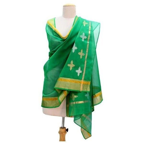 NOVICA Emerald Green Cotton and Silk Shawl with Golden Flowers (£40) ❤ liked on Polyvore featuring accessories, scarves, clothing & accessories, green, shawls, cotton shawl, pure silk scarves, wrap shawl, silk scarves and silk shawl