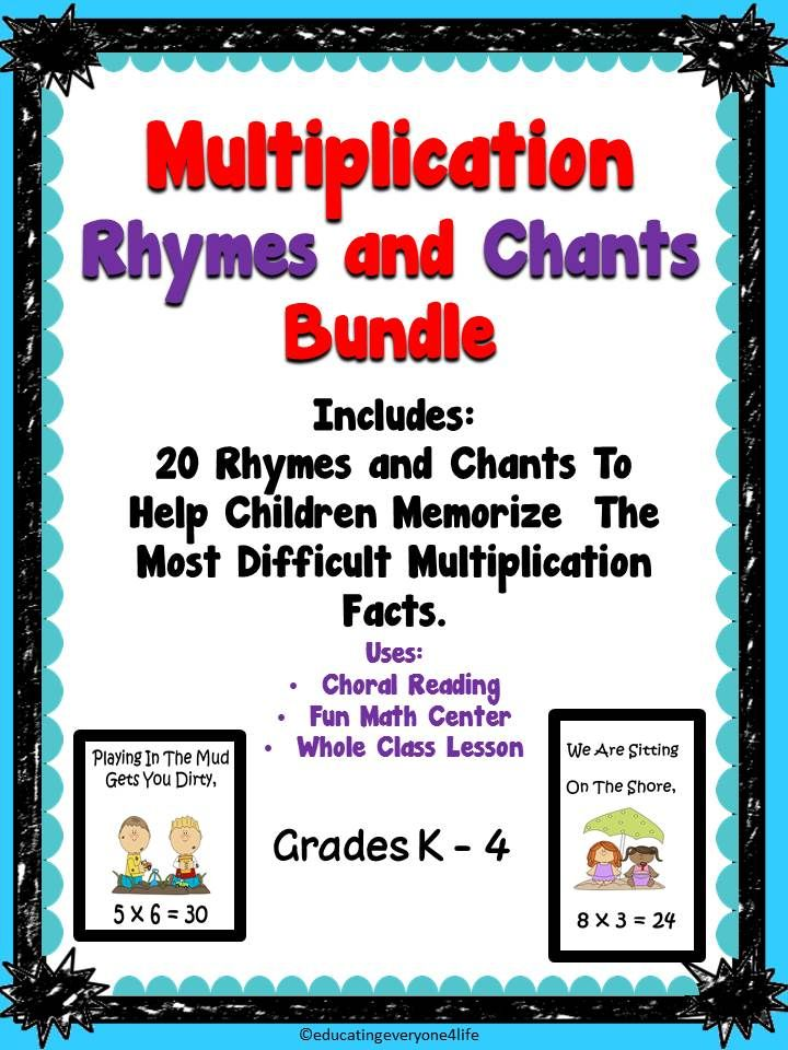 Multiplication Rhymes and Chants | Multiplication facts ...