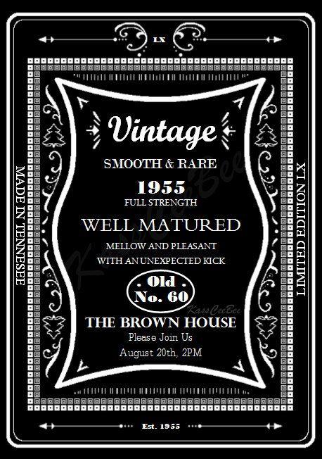 Birthday Party Invitation Sixty Whiskey Label Invite By KassCeeBee
