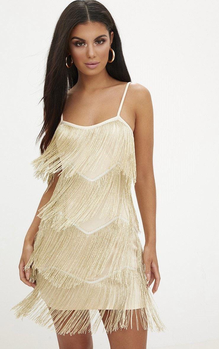 bd58e547c5 Gold Tassel Layered Bodycon Dress. Dresses