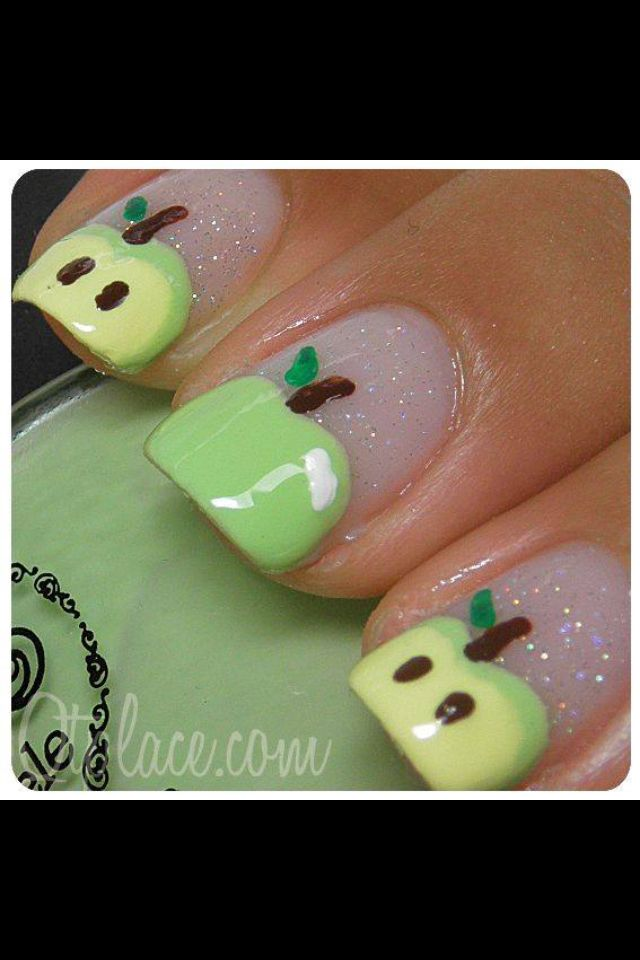 Cute apple nails | nail art | Pinterest | Uña decoradas, Diseños de ...