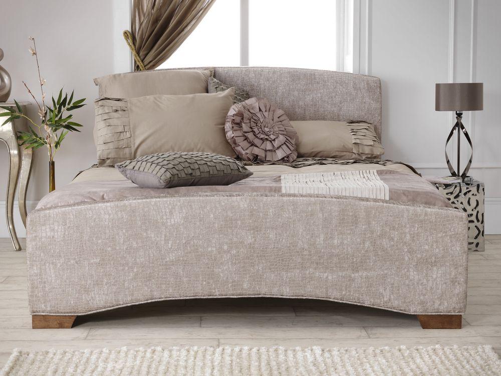 Serene Anastasia Super King Mink Fabric Bed Frame with Walnut Feet ...