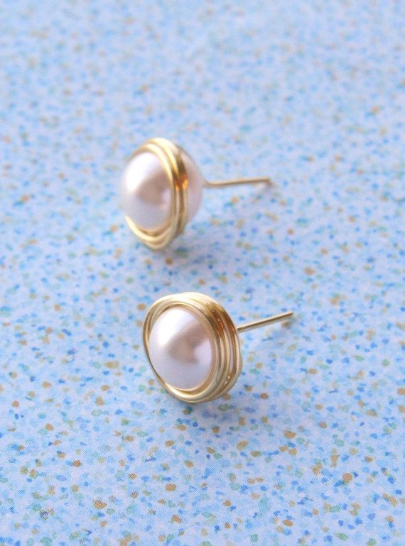 Gold Stud Earrings Ivory Pearl Earrings Bridesmaids by Meant2Bead, $16.00