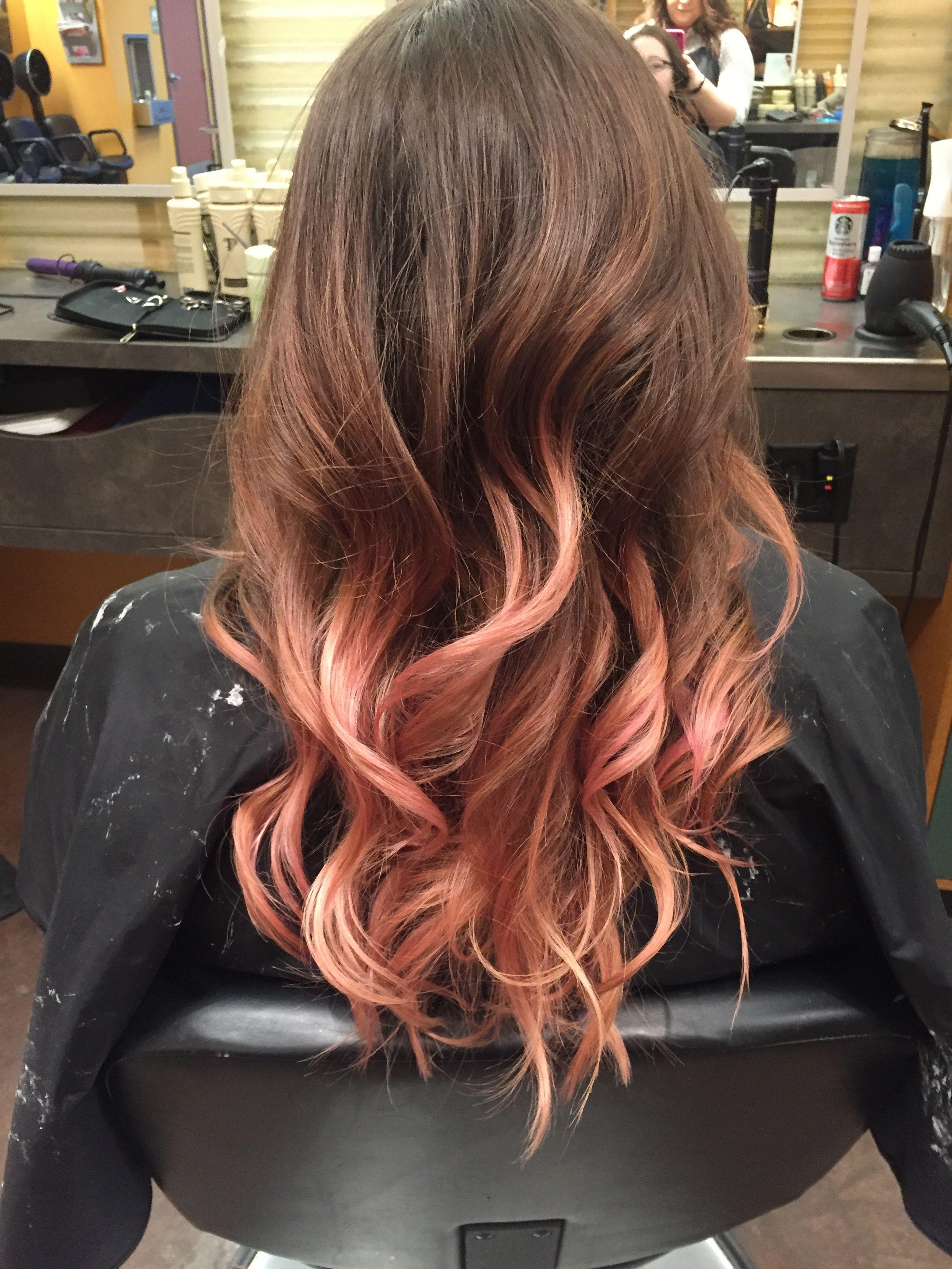 Rose gold balayage on brown hair in 2019