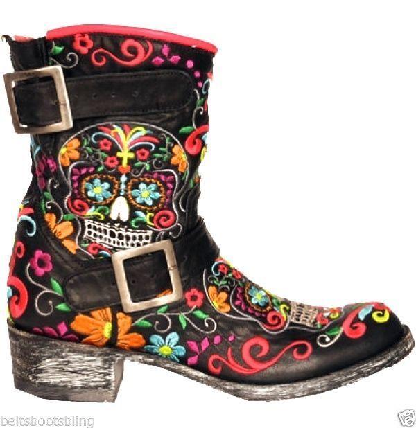 OLD GRINGO SUGAR SKULL KLAK BIKER MULTI Embroidered Ankle Cowboy Boots Preorder 01/15/15 - BeltsBootsBling.com