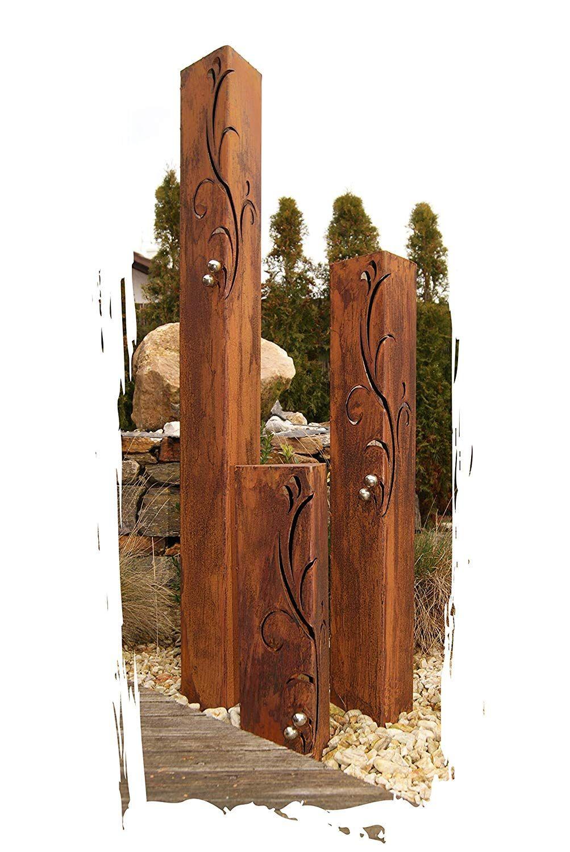 Jh Metalldesign Säulenset Barocco Säule Set Edelrost Rost Romantik Gartendeko Garten Edelstahl Kugeln Garten Deko Edelrost Hof Kunst
