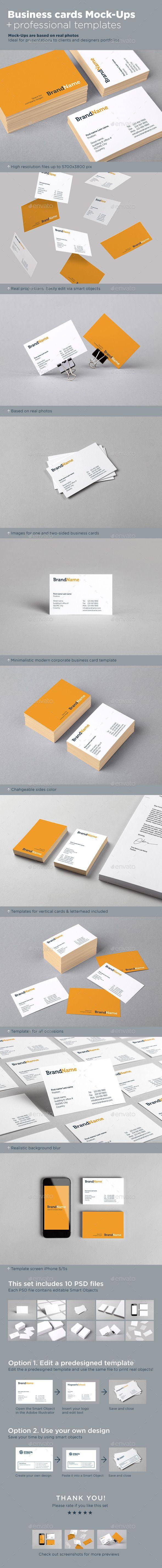 Business Cards Mock Ups Template Pinterest