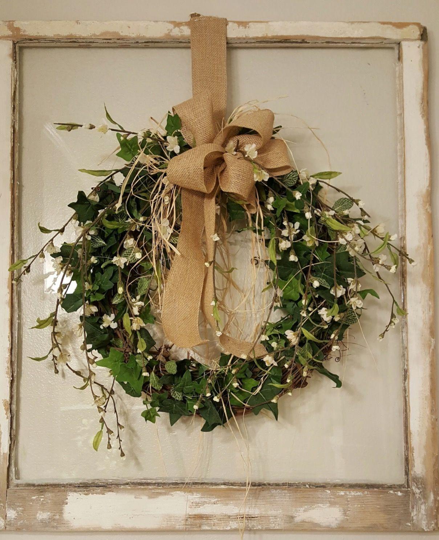 Front door wreath greenery wreath wreath great for all for Front door xmas wreaths