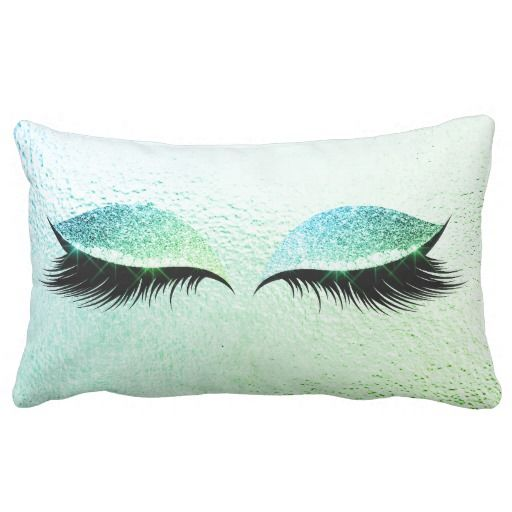 The Glittery World Of Silver Bedroom Ideas: Mint Green Bue Glitter Black Lashes Glam Make Up Lumbar