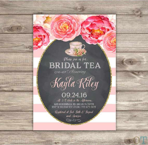 463a8c83154 Bridal Shower Tea Party Invitations Vintage Digital Prinable Pink and Gold  Flowers Rustic Tea Pot Love is brewing Bride Party Bridal NV546