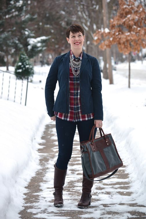 6dfb86d1b8df Already Pretty outfit featuring navy blazer, plaid shirt, statement  necklace, skinny jeans, Frye Vera Slouch boots, J.W. Hulme bag