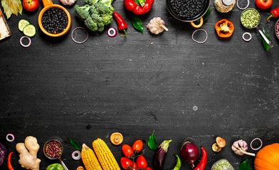 Frame Of Organic Food Fresh Raw Vegetables With Black Beans Organic Recipes Raw Vegetables Vegetable Stock