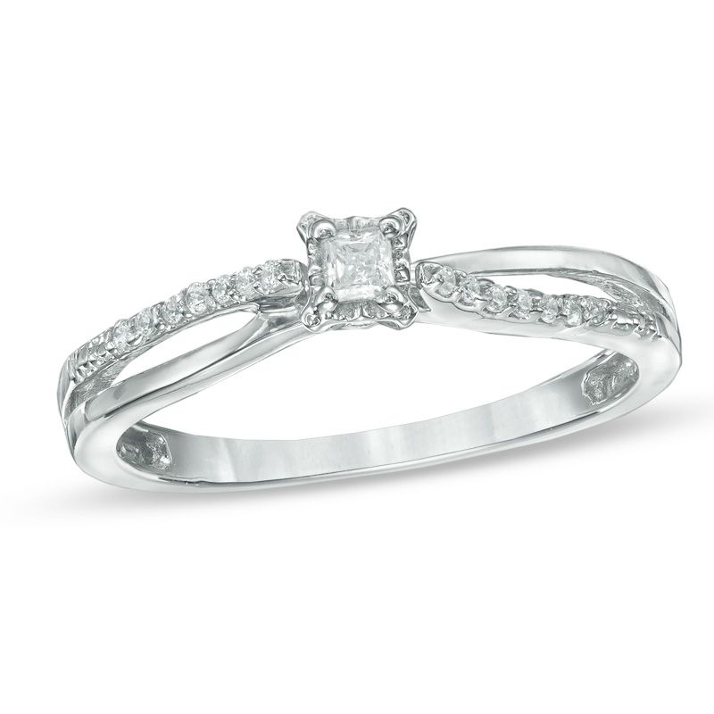 Zales 1/10 CT. T.w. Diamond Flower Split Shank Bypass Ring in Sterling Silver and 10K Gold QeTUIl0x0j