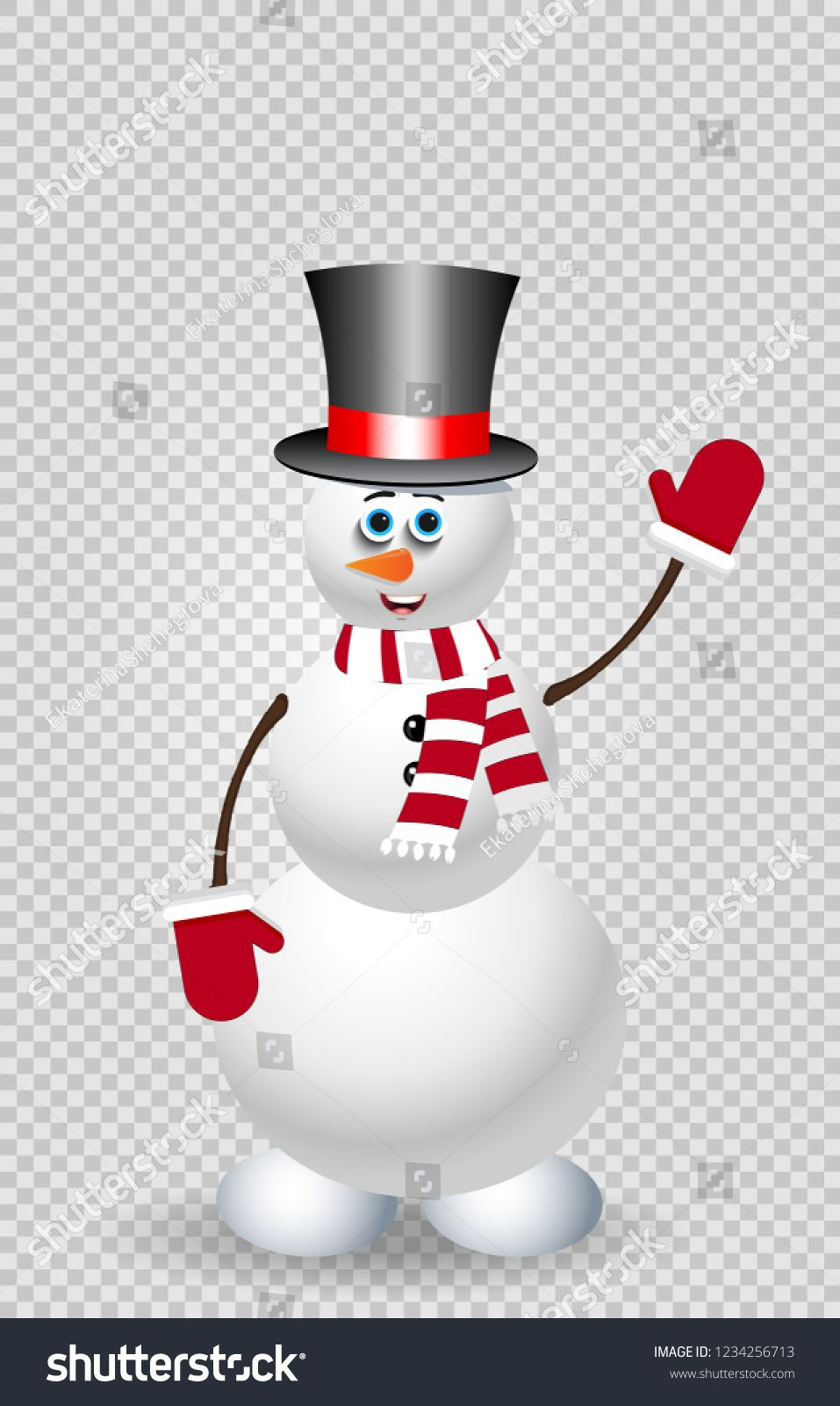Cute cartoon snowman character in top hat, red striped