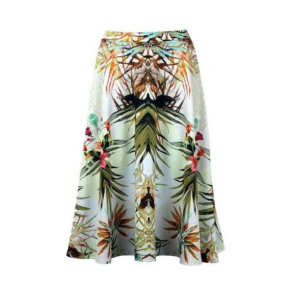 TRAFFIC PEOPLE Hawaiian Leopard Circle Print Skirt ($33) ❤ liked on Polyvore featuring skirts, traffic people, hawaiian print skirt, hawaiian skirt, leopard print skirt and green skirt