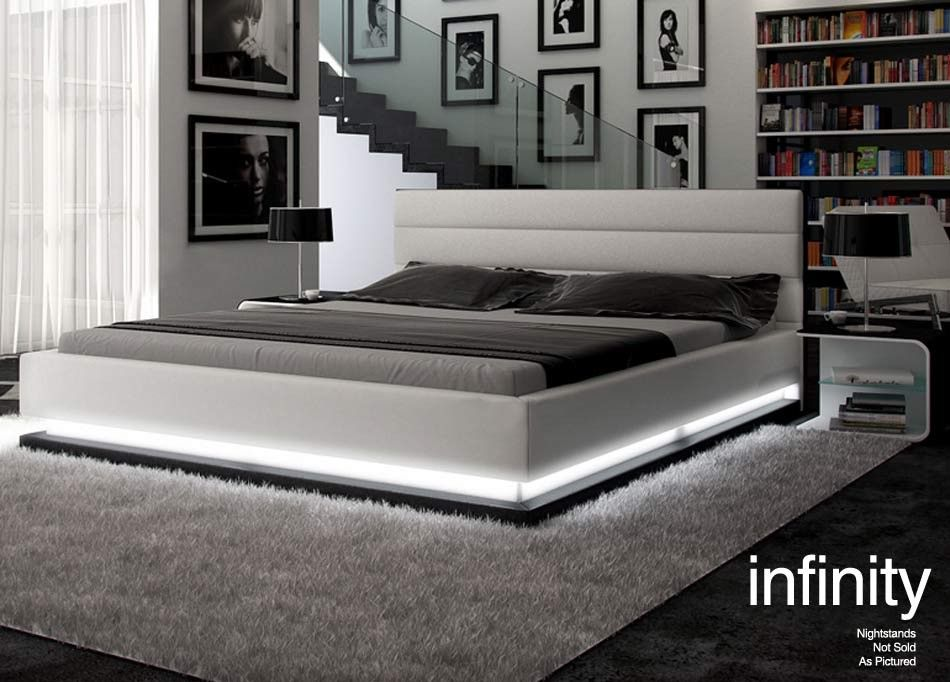 Infinity Contemporary White Platform Bed W Lights White Platform Bed Contemporary Platform Bed Platform Bedroom Sets