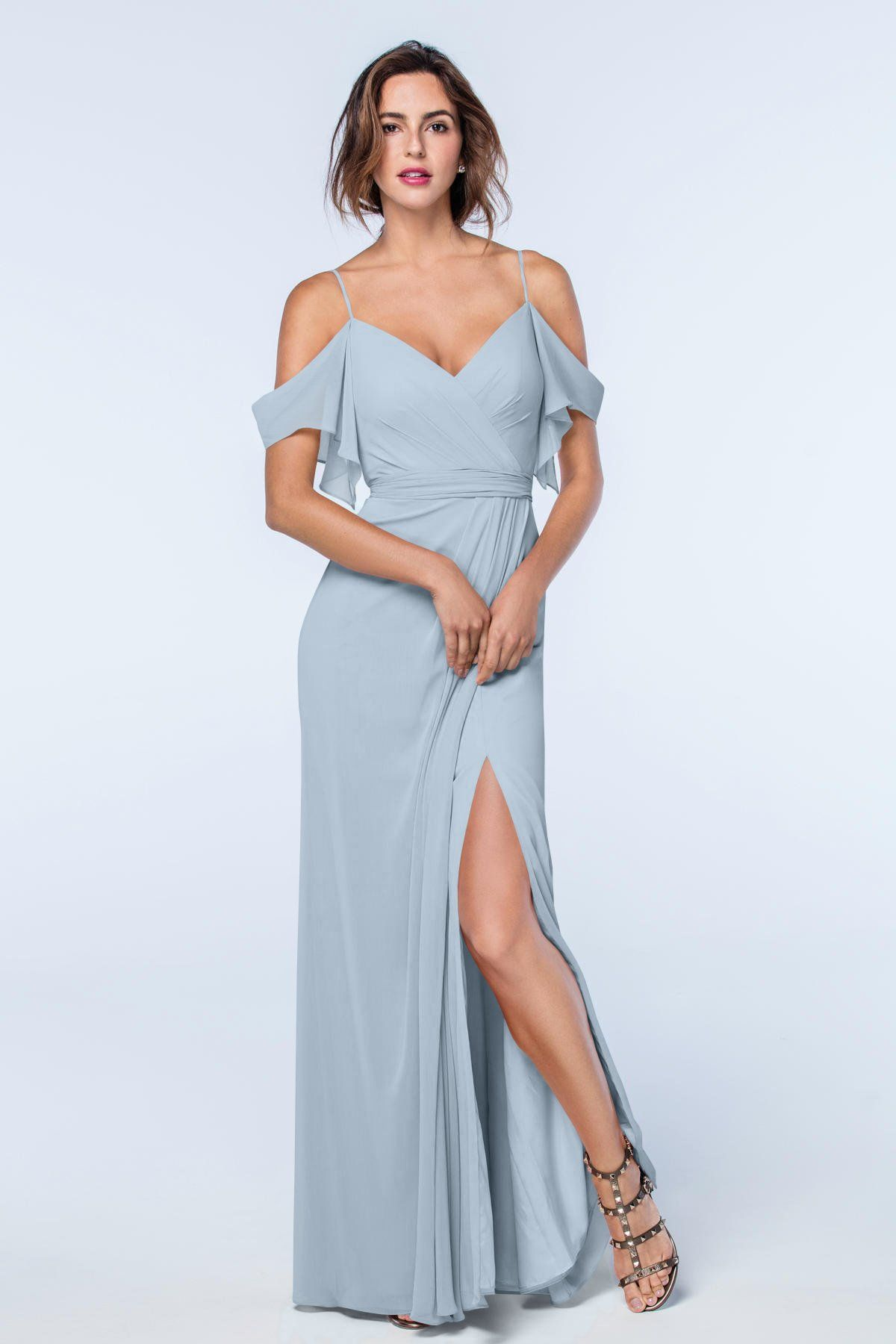 Royal blue chiffon one shoulder bridesmaid dresses with side split - Watters French Blue Aldridge Bridesmaid Dress Featuring An Off The Feminine Shoulder Detail And Side