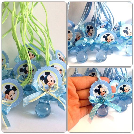 Mickey mouse baby shower pacifiers mickey by for Baby mickey decoration ideas