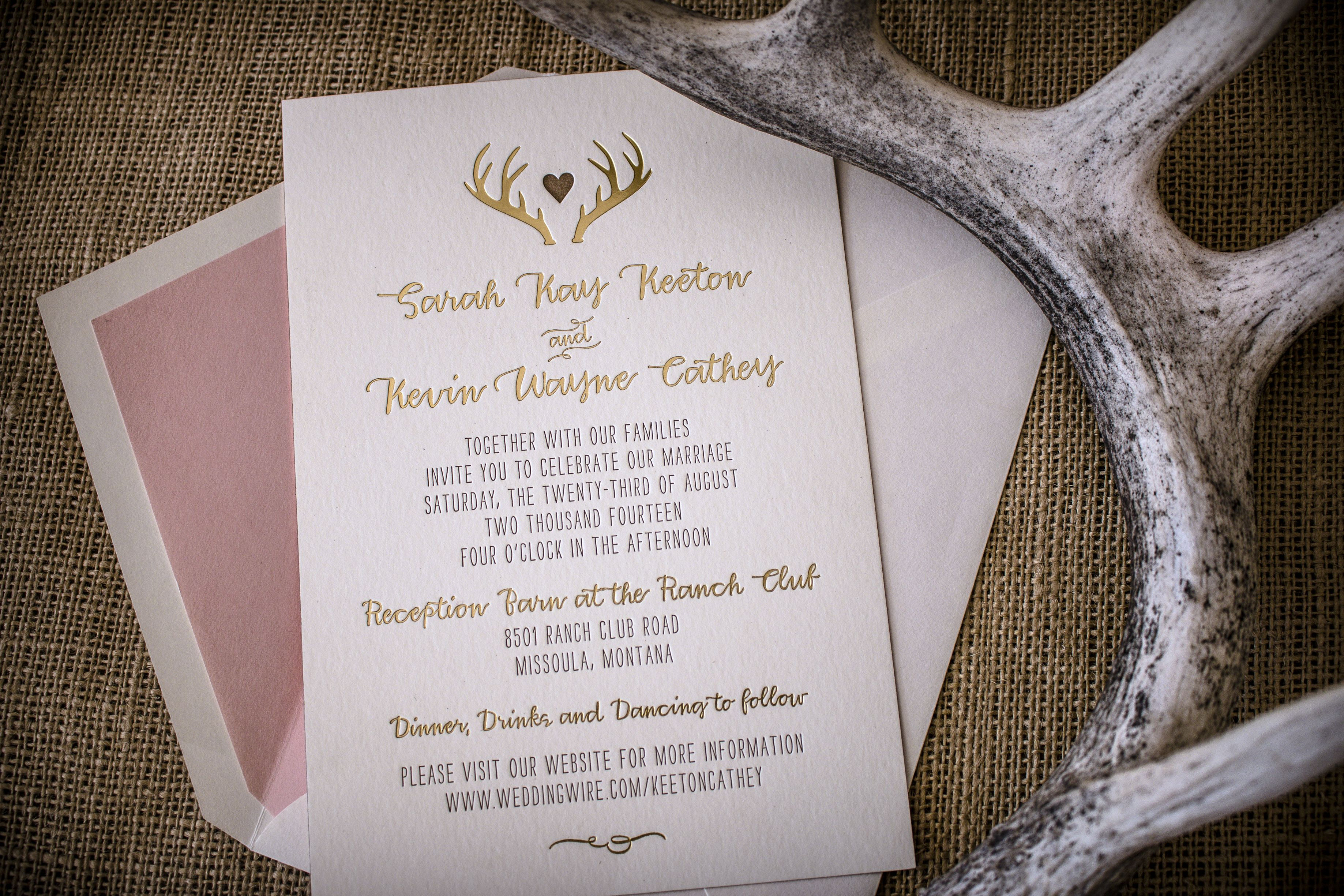 The definition of montana rustic glam wedding invitations antlers the definition of montana rustic glam wedding invitations antlers gold foil blush envelope liners and rose colored edge foil swoon stopboris Image collections