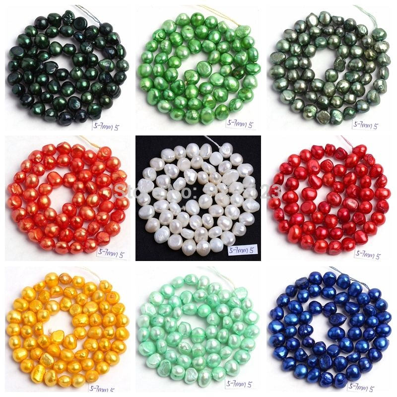 """Free Shipping 18Color 5-7mm Natural multicolor Freshwater Pearl Irregular Shape DIY Loose Beads Strand 14"""" Jewellery Making wj49"""