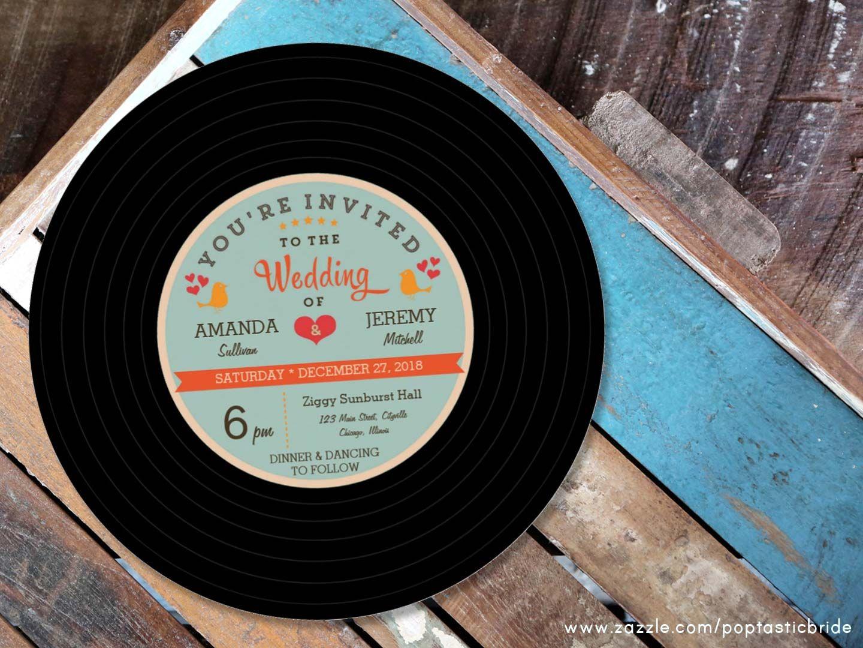 Retro wedding invitations | vinyl record wedding invite | 80s ...