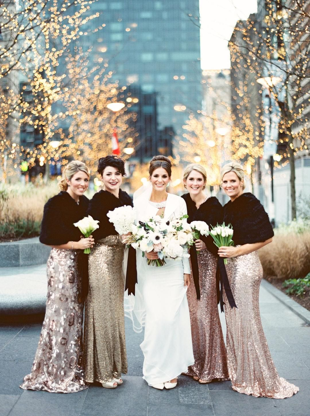 Glamour romance in philadelphia girls gold bridesmaids and fur bridesmaid ombrellifo Image collections