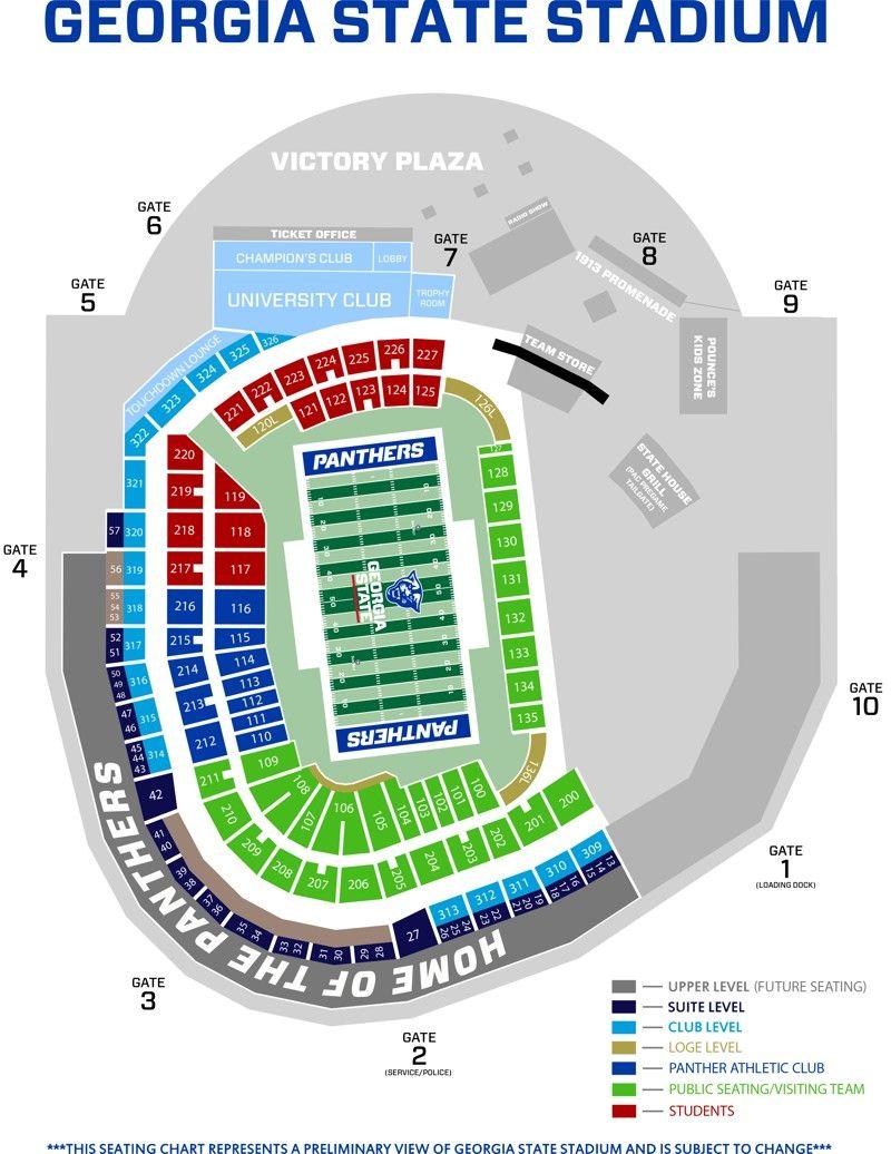 Georgia Dome Seating Map : georgia, seating, Stadium, Seating, Chart, Georgia, State,, Charts,