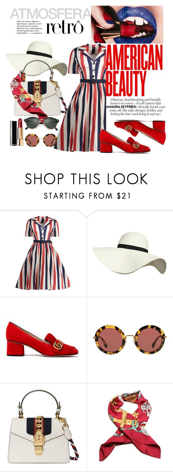 """Atmosfera retro"" by user22 ❤ liked on Polyvore featuring Pilot, Gucci, Miu Miu, Chanel, Hermès and Ray-Ban"