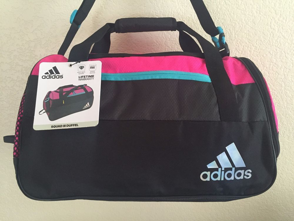 48d68df92e ADIDAS Squad III Duffel Women Shock Pink Macro Heather Black Gym bag luggage.   Adidas