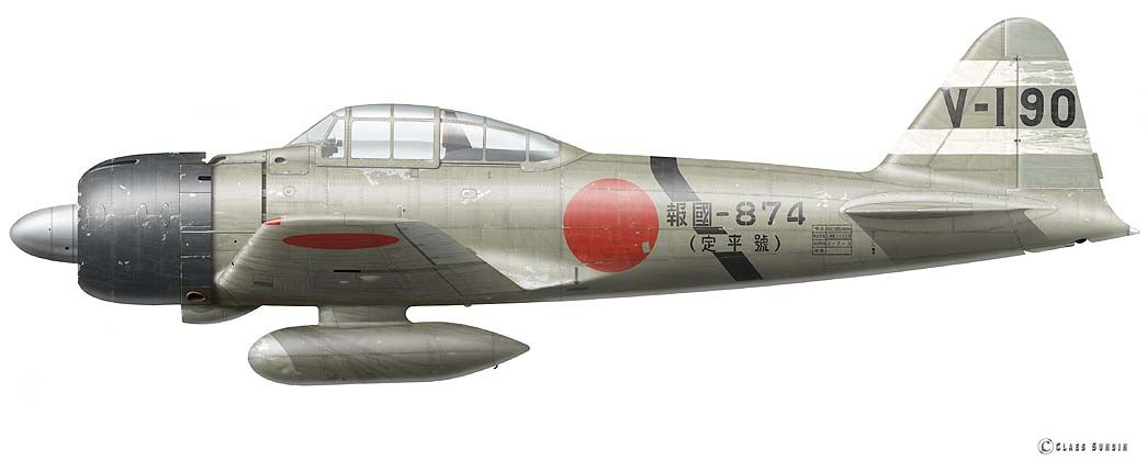 Mitsubishi Type 0, Model 32 (A6M3), flown by Rikugun Shoi (Lt.) Inano Kikuíchi, 4th chutai, Tainan Kokutai, Buna/New Guinea, August 1942. Artwork of Claes Sundin.