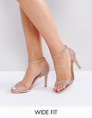72b873b063338 New Look Wide Fit Glitter Barely There Heeled Sandal