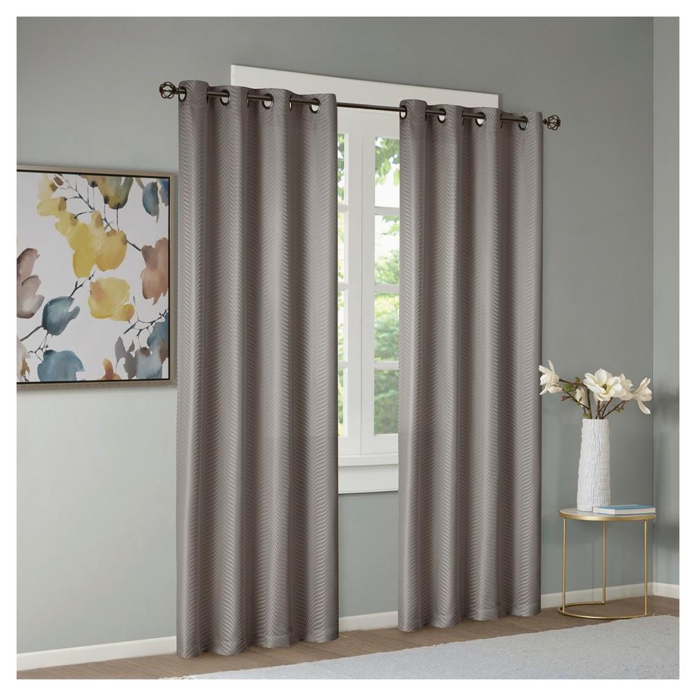 "Dunet Jacquard Window Curtain Panel Pair Silver (50""x84"")"