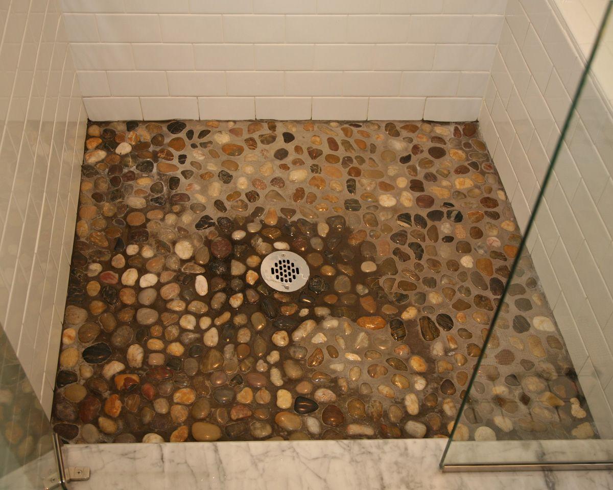 Natural River Rock Tile Shower Floor Www.mvconstruction