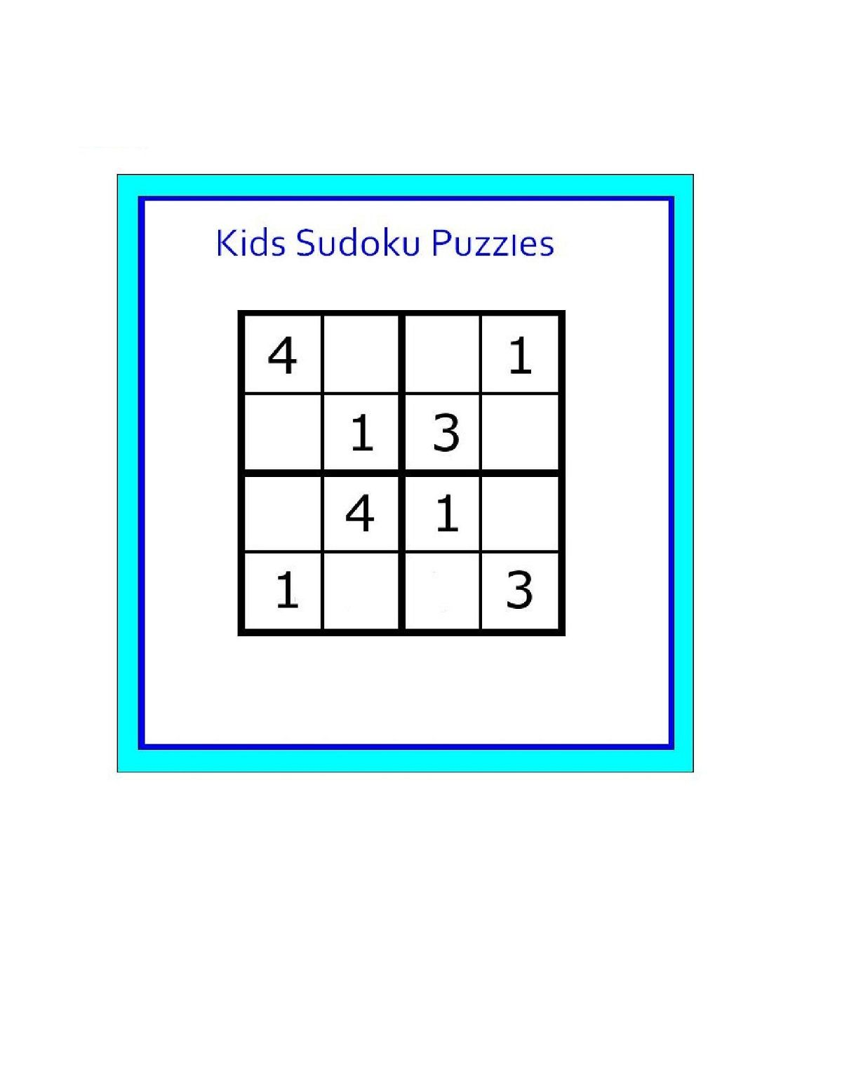 Soduko For Kids Page Here Are The Game That Is Called