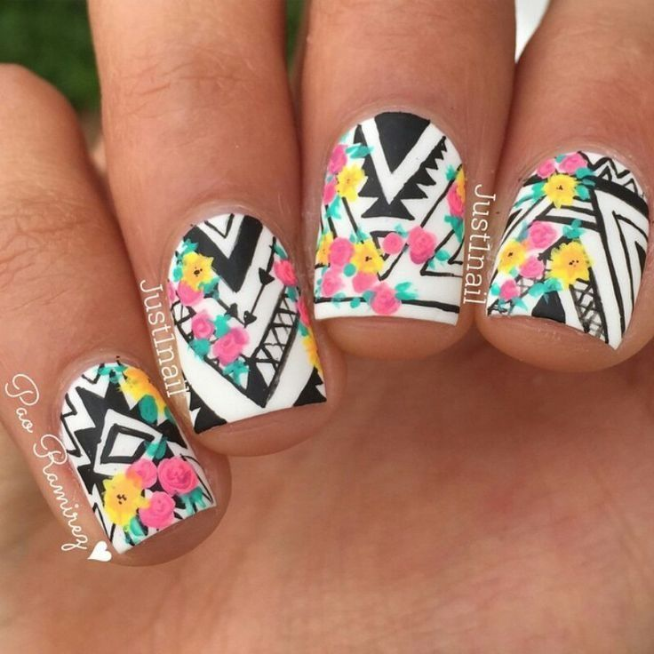 Tribal nail art + floral details
