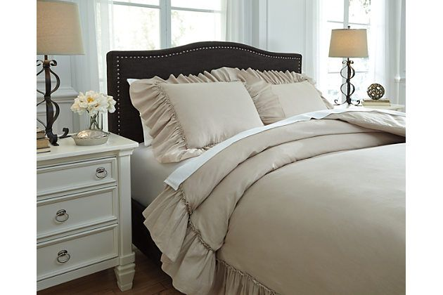 Clarksdale 3 Piece King Duvet Cover Set By Ashley Homestore Tan