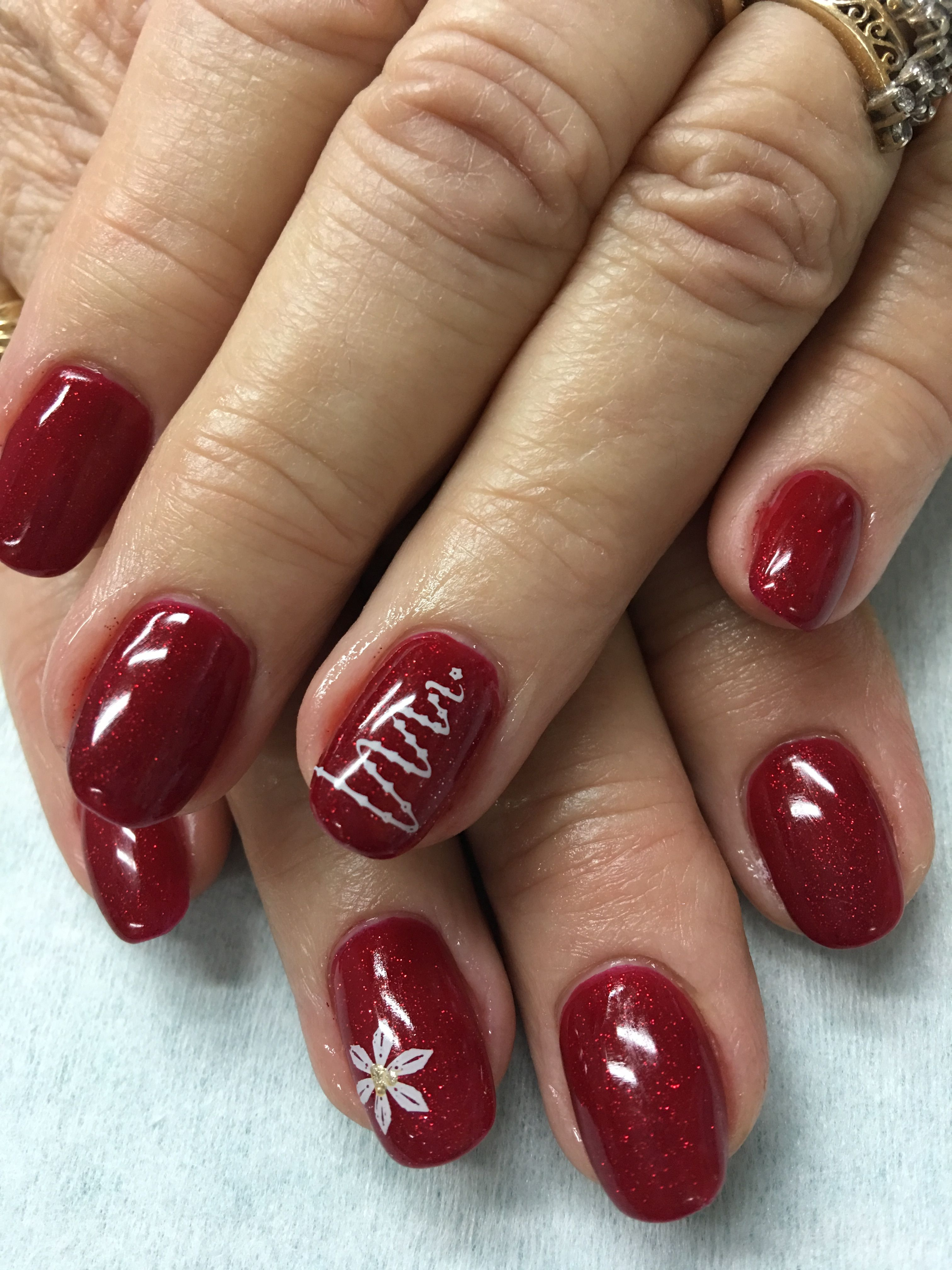 Sparkle Red Christmas Stamped Tree Gel Nails