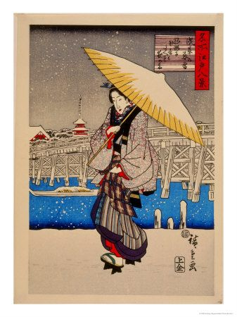 Teahouse Snow Scene by Japanese Hiroshige Counted Cross Stitch Pattern