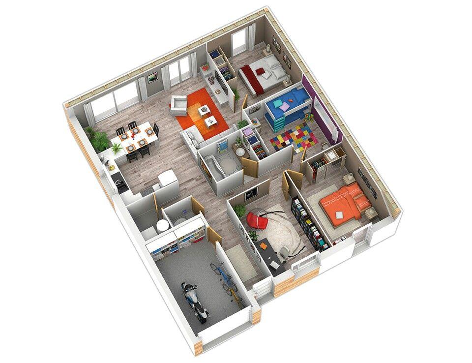 Casa moderna de 3 quartos e garagem Planos de casas dos pisos